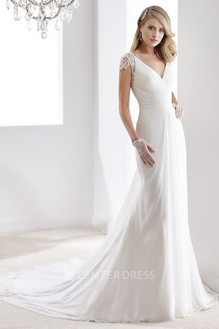 e37304f055a6 V-Neck Sheath Chiffon Wedding Dress With Bandage Waist And Illusive Sleeves  And Back - UCenter Dress