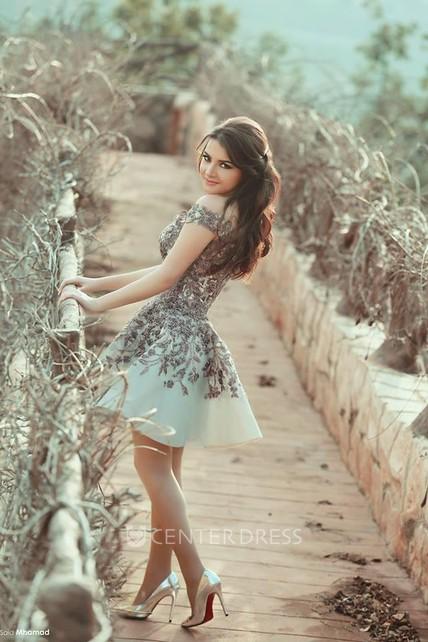 Elegant Lace A-Line Prom Dresses Off-the-Shoulder Petite Evening Dresses -  UCenter Dress a51e8fa68