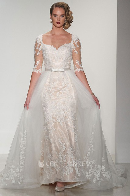 Ball Gown Square-Neck Half-Sleeve Lace Wedding Dress With Keyhole ...
