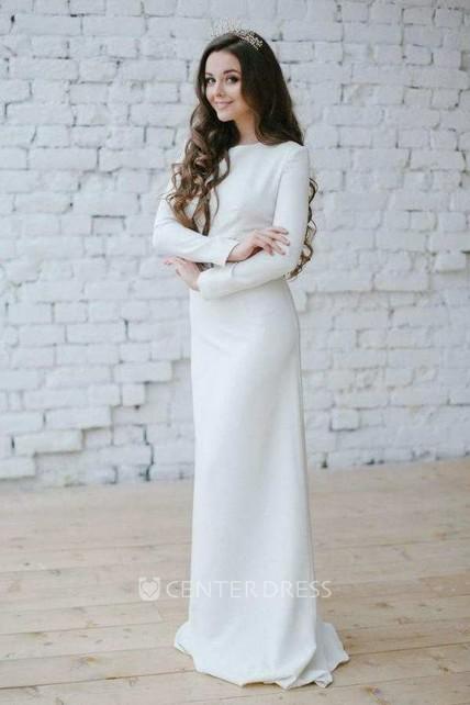 1ab10d4aa Bateau Long Sleeve Sheath Dress With Appliqued Waist - UCenter Dress