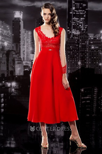 1163c734f91 A-Line Tea-Length V-Neck Sleeveless Chiffon Illusion Dress With Appliques -  UCenter Dress