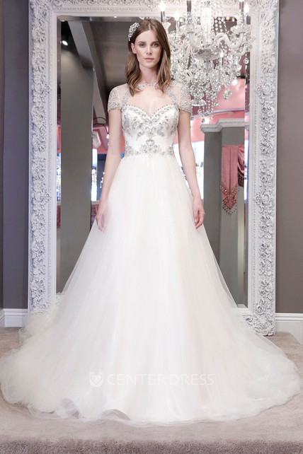 6ab90d8bfec Ball-Gown Bateau Short-Sleeve Long Beaded Tulle Wedding Dress With Keyhole  Back And Ruffles - UCenter Dress