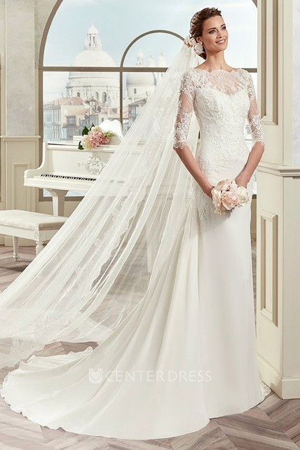 6a8a3dee2388 Scalloped-Neck Sheath Bridal Gown With Half-Sleeve And Court Train - UCenter  Dress