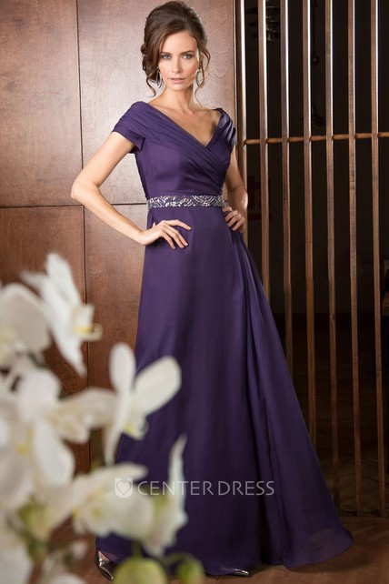 V-Neck A-Line Long Mother Of The Bride Dress With Ruches And Sequins