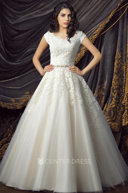 Royal Cap Sleeve Queen Anne Neckline Ball Gown Court Train Wedding Dress with Appliques and Waist Jewelry