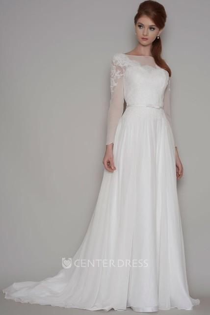Sheath Long Sleeve Bateau Neck Chiffon Wedding Dress With Illusion