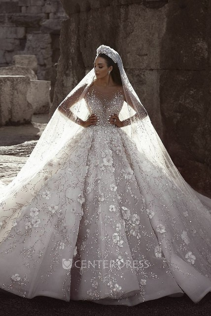 Appliqued Illusion Long Sleeve 3D Floral Luxury Bridal Ball Gown Wedding Dress With Beading