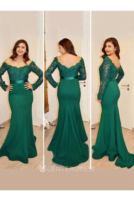 9e0a10f21d752 Illusion Long Sleeve Sweep Brush Train Mermaid Trumpet Off-the-shoulder  Satin Lace Dress - UCenter Dress