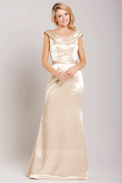 845a4eb3dbc Cap Sleeve Cowl Neck Satin Bridesmaid Dress With Low-V Back - UCenter Dress