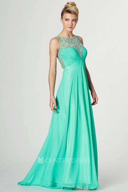 A-Line Jewel-Neck Floor-Length Sleeveless Beaded Chiffon Prom Dress With Ruching