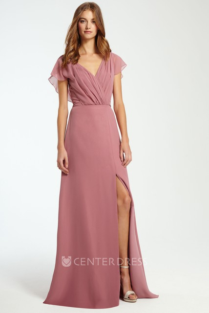 14f1e37ba0d7 V-Neck Ruched Sleeveless Chiffon Bridesmaid Dress With Split Front -  UCenter Dress