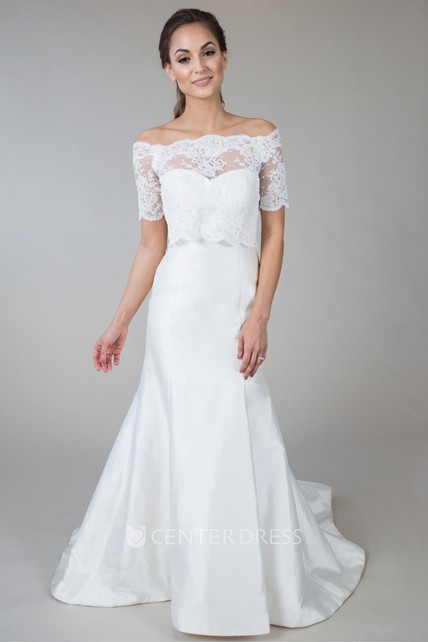 Short-Sleeve Off-The-Shoulder Satin&Lace Wedding Dress With Illusion