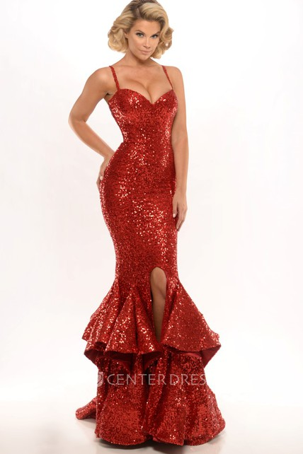 Trumpet Sleeveless Spaghetti Long Split-Front Sequins Prom Dress With Cascading Ruffles
