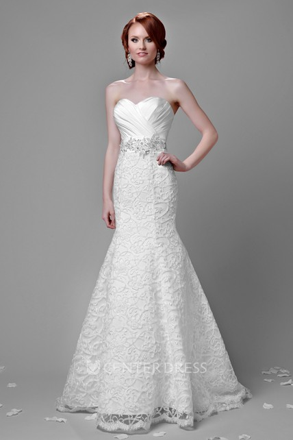 59c27d25fb Fit And Flare Lace Sweetheart Gown Featuring Ruched Satin Bust - UCenter  Dress