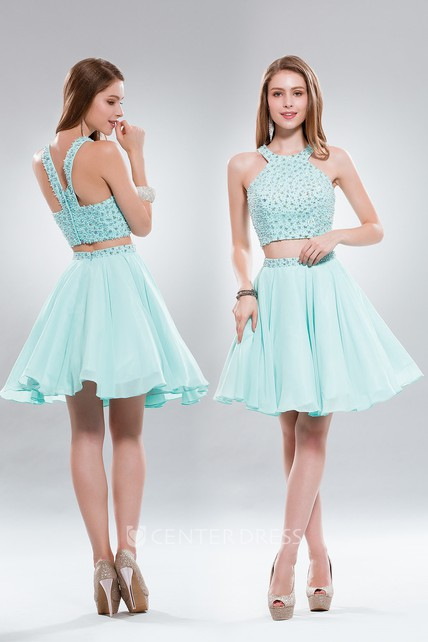 Two-Piece A-Line Mini Scoop-Neck Sleeveless Chiffon Zipper Dress With Beading