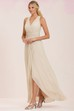 Sleeveless V-Neck Long Bridesmaid Dress With Front Slit And Pleats