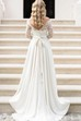 A Line Bateau Chiffon Lace Button Zipper Wedding Gown