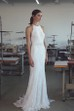 Ethereal Lace Halter Long Bridal Gown with Bow and Sweep Train
