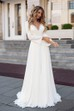 Sexy Chiffon Sheath V-Neck Appliqued Bridal Gown with Sash