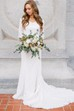 Modest Sheath V-neck 3/4 Length Sleeve Lace Wedding Gown with Court Train