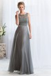 Sleeveless Bateau-Neck A-Line Long Bridesmaid Dress With Lace Bodice