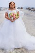 Ball Gown Bateau Lace Tulle Button Zipper Wedding Gown