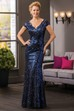 Cap-Sleeved V-Neck Long Mother Of The Bride Dress With Allover Sequins And V-Back
