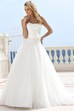 A-Line Sleeveless Strapless Floor-Length Appliqued Tulle Wedding Dress With Flower