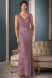 Cap-Sleeved V-Neck Long Mother Of The Bride Dress With Appliques