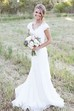 Cap Sleeve V-neck Sheath Chiffon Country Wedding Dress With Lace Bodice and Sash