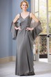 Sleeveless V-Neck Long Mother Of The Bride Dress With Ruching And Matching Shawl