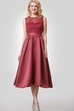 Tea Length A-Line Satin Dress With Lace Bodice and Scoop Neck