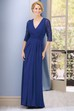 Half-Sleeved V-Neck Long Gown With Beadings And Pleats
