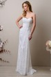Column Lace Sweetheart Gown With Side Draping And Beadwork