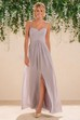 Sleeveless A-Line Bridesmaid Dress With Illusion Straps And Front Slit