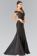 Trumpet Floor-Length Off-The-Shoulder Satin Illusion Dress With Lace