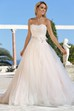 A-Line Strapless Floor-Length Sleeveless Appliqued Tulle Wedding Dress With Flower And Ruffles