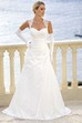 Long Queen Anne Side-Draped Satin Wedding Dress With Appliques And Keyhole
