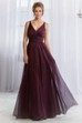 V-Neck Sleeveless A-Line Bridesmaid Dress With Knot Detail And Pleats
