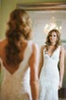 Sheath V-neck Lace Zipper Low-V Back Wedding Dress