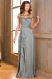 Cap-Sleeved Long Mother Of The Bride Dress With Ruffles And Illusion Appliqued Neck