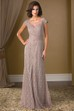 Cap-Sleeved Long Lace Mother Of The Bride Dress With Illusion Back