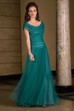 Cap-Sleeved Long Tulle Mother Of The Bride Dress With Ruches And Beadings