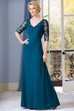 Half-Sleeved V-Neck Long Mother Of The Bride Dress With Sequins And Appliques