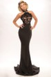 Sheath Sleeveless High Neck Floor-Length Lace Jersey Prom Dress With Backless Style And Sweep Train