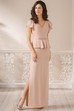 Cap-Sleeved V-Neck Long Side Silted Mother Of The Bride Dress With Ruffles