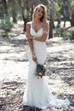 Fabulous Spaghetti Strap V-neck Backless Mermaid Long Lace Wedding Dress