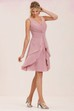 Sleeveless V-Neck Knee-Length Chiffon Bridesmaid Dress With Ruffles