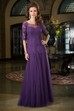 Half-Sleeved Long Mother Of The Bride Dress With Dropped Waistline And Appliques