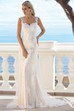 Square Maxi Appliqued Lace Wedding Dress With Court Train And V Back